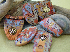 Copper Mesh (julie_picarello) Tags: house yellow metal julie mesh jewelry clay bead designs polymer gane mokume picarello