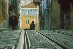 Urban (Sandra_R) Tags: road street old city people portugal exterior floor lisboa lisbon details cyan railways urbanscenes lx pack1 littlemisspatriciasactions