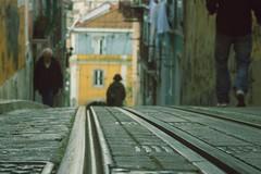 Urban (Sandra_R) Tags: road street old city people portugal exterior floor lisboa lisbon details cyan railways urbanscenes lx pack1 littlemisspatriciasactions
