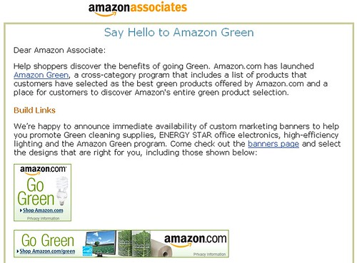 Amazon Green - Associates Email Screenshot - 08/13/08
