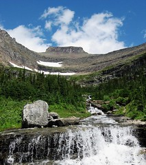 Lunch Creek, Glacier National Park, Montana (moonjazz) Tags: park blue trees summer vacation sky white mountain green nature water rock clouds wonder landscape lunch waterfall montana stream heaven force power natural northwest continental hike best carve glacier pines zen layers geology wilderness inspire pure viewpoint mighty gaze preserve steep majesty pristine unspoiled vosplusbellesphotos