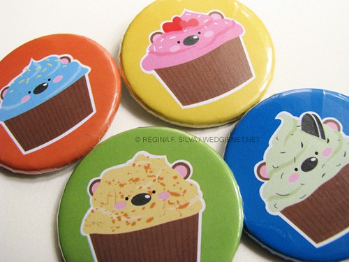Cupcake Bears button pins