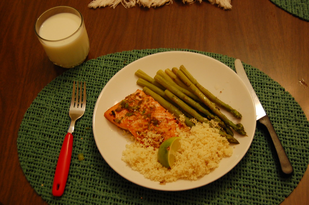 Honey-Soy Broiled Trout, Asparagus & Couscous
