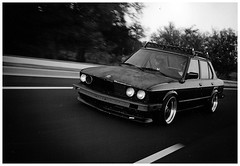 Old School (Mike Burroughs) Tags: black film sedan nikon rat rust bmw rod hood hp5 f80 ilford f28 slammed bimmer hre dumped 1755 e28 535i hoodride zender