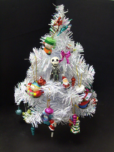 Skelly becomes a christmas tree ornament