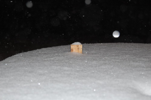 Snow on the picnic table