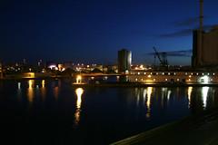 Aarhus Havn (Audiotribe) Tags: light color reflection water colors skyline night denmark lights harbor glow harbour nat lys danmark havn metropol flares 8000 århus århushavn refleksion balticagade