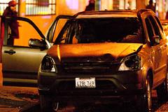 Burnt Out Car, Oakland Riots (Thomas Hawk) Tags: california usa america oakland riot unitedstates unitedstatesofamerica protest bart eastbay riots downtownoakland bartpolice oscargrant oaklandriot oaklandriot2009 oaklandriots2009 oscargrantriots oaklandriots