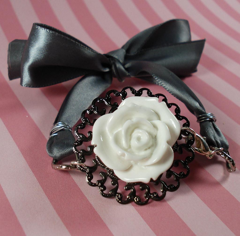 Romantic Roses and Ribbon Bracelet