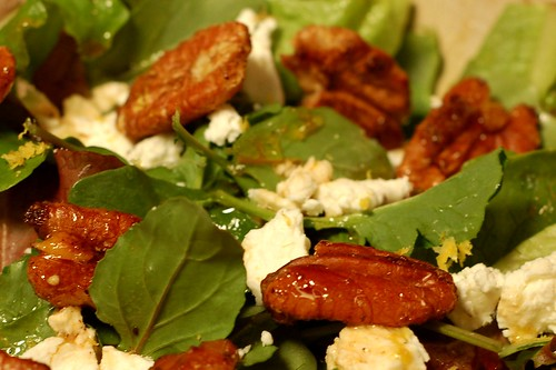 Maple garam masala pecans star in this winter greens salad along with goat cheese and mandarin zest