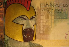 """Tonight We Dine In Hell"" (Mordecai Sledge) Tags: canada money canadian sparta 20 defaced defacing queenelizabeth deface"