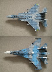 Adversaries Eagle vs. Flanker (2) (Mad physicist) Tags: lego russia aircraft camo camouflage usaf f15 su27 flanker f15c