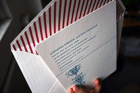 Cavall letterpress wedding invitation - reds and blues - by Smock