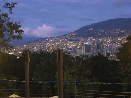 Central Medellin lights up