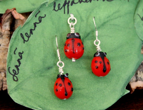 Red Ladybird earrings and pendant