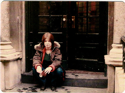 Ann on the steps of her tenement building in 1973