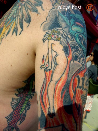 Naked WOmen with Flames tattoo