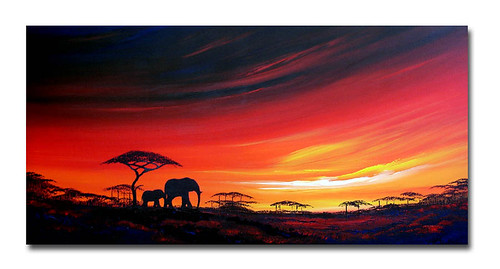'Elephant sunset too' African sunset/landscape painting by Sunset
