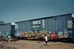 homes kids (great deku tree) Tags: railroad pink blue homes red tree green kids train bench graffiti superia stock rail running explore 400 fujifilm boxcar limbs railfan freight rolling losing btr deku e2e explored benching
