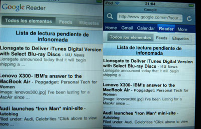 reader-google en el ipodtouch. distintas versiones