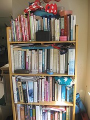 Old kitchen bookcase before reorganization