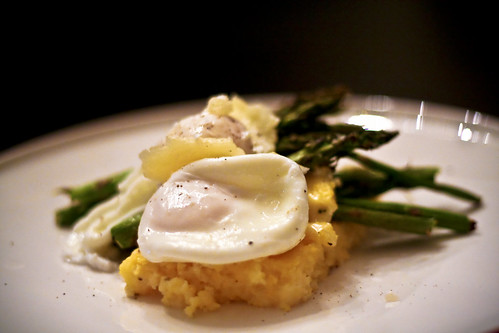 asparagus & polenta poached eggs