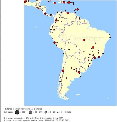 ClustrMaps Blog vistors from South America in April 2008