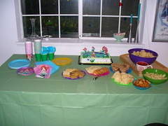 The Banquet Table for the Party (gatchamark) Tags: party food cake little disney cups plates mermaid favors singalong