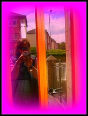 Through the glass , Pinkly (indigo_girl) Tags: door camera pink woman reflection me rose indigo cycle raybans anawesomeshot