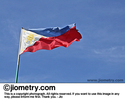 Philippine flag, waving high