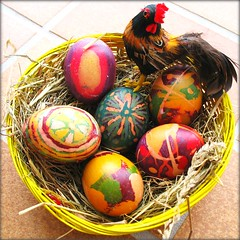 WISH  YOU  A  HAPPY  EASTER   WEEKEND -  Batik Art (Batikart) Tags: pink red white green rot art yellow c