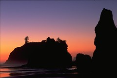 Olympic National Park, Ruby Beach -- Dusk #3 (wanderingYew2 (thanks for 3M+ views!)) Tags: beach silhouette backlight nationalpark dusk olympicpeninsula unescoworldheritagesite pacificocean pacificnorthwest washingtonstate rubybeach olympicnationalpark seastack pacificcoasthighway unitedstateshighway101