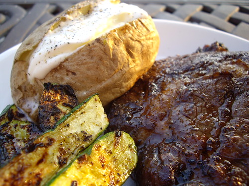 Steak, Baked Potato, and Grilled Baby Zucchini