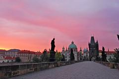 Charles Bridge, Prague - dawn (nikoncognac) Tags: travel bridge pink summer vacation sky sunrise nikon europe prague praha tokina czechrepublic charlesbridge 1224 d80