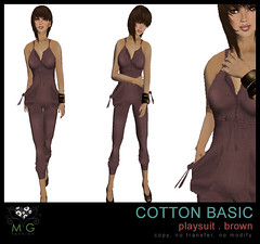 [MG fashion] Cotton Basic Playsuit (brown)