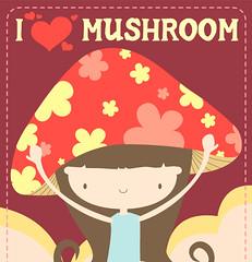 Mushroom Chi Chi - greeting card (ahyingmui) Tags: baby cute mushroom girl japanese pattern message handmade card chi kawaii etsy greeting