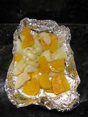 Roasting beets, onions & garlic