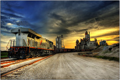 The Train Factory (Extra Medium) Tags: sunset train scenery industrial factory locomotive hdr ruraltexas 9exposures newbrunfels 1stopapart choochoocar vcfair09