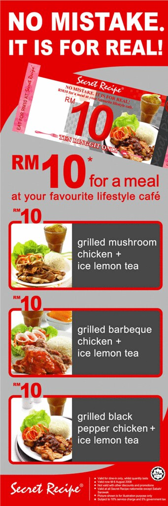 RM10 value meals at Secret Recipe