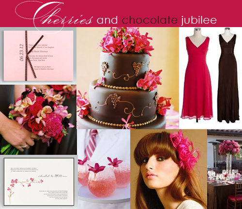 Brown and Red or Pink Wedding Inspiration Board