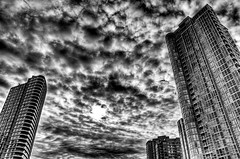 TOWERS (Eugene's Likeness) Tags: sky bw vancouver clouds interesting bc yaletown handheld fp frontpage hdr d300 explored 5xp 18200vrii