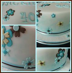 40th Birthday Cake details ..... (abbietabbie) Tags: brown white cake fdsflickrtoys aqua cream birthdaycake marzipan 40 fondant