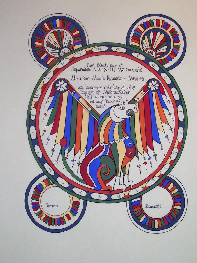 Barony of Windmasters Hill Honorary Member scroll for Baron Alejandro Mateo Ramirez. Based on St. Lukes page in the Leon Bible of 920. In iEarly Spanish Manuscript Illumination/i (Braziller: NY, 1977).