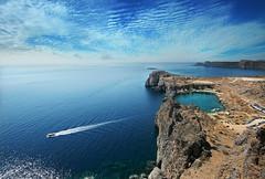 (~Frida*~) Tags: sea summer nature water landscape boat europe mediterranean view cliffs greece acropolis rhodes lindos fridagruffman