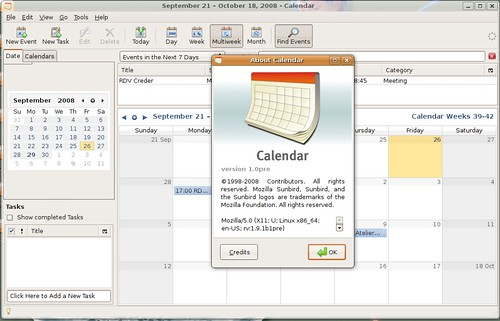 Sunbird pré-1.0 sous Ubuntu Linux 8.04.1 LTS