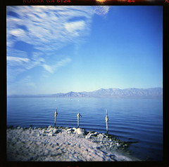 (moominsean) Tags: california blue 120 glass dead holga mud gray toycamera salt plastic northshore saltonsea endless kodakgold 120gn autaut expired1986