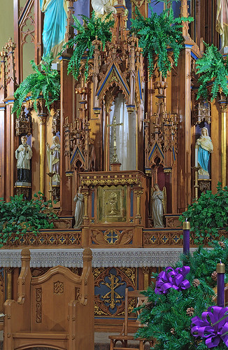 Saint Cecilia Roman Catholic Church, in Bartelso, Illinois, USA - high altar