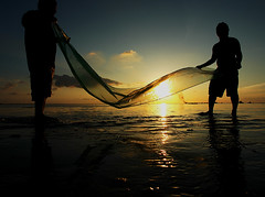 Work of life in Maldives (eyebe / aibe) Tags: sunset sea people net fishing maldives eyebe