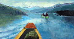 Vacation In Muskoka (phishix) Tags: lake collage illustration paper paint acrylic canoe editorial muskoka