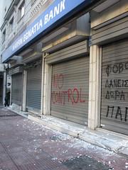 "Marfin Egnatia Bank - ""No Control"" (Tilemahos Efthimiadis) Tags: graffiti rally hellas bank athens greece 100views damage 200views riots 50views anarchists marfin  egnatia panepistimiou  griots     greekriots    address:city=athens address:country=greece"